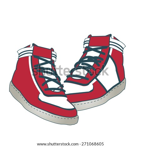 Sneakers red vector - stock vector