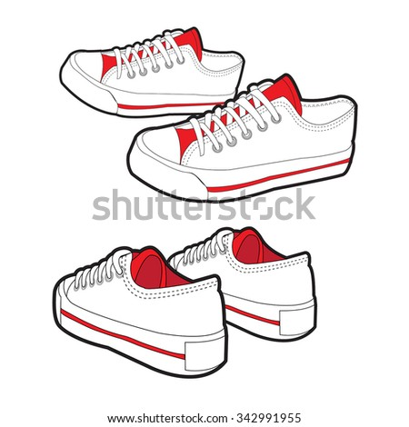 Sneakers.shoes and  shoes vector material. illustration - stock vector