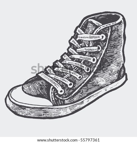 sneakers. sketch style. vector illustration - stock vector