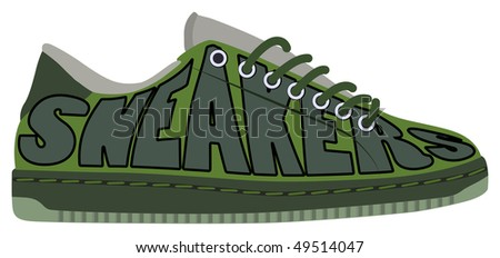 sneakers training shoes - stock vector
