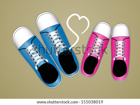 Sneakers With Lovely Heart - stock vector