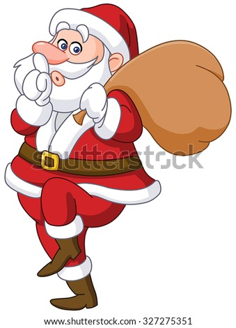 Sneaky santa claus showing silence sign and tip toeing carrying gifts sack - stock vector