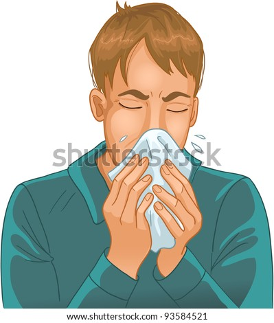 Sneezing man. Vector image of a man sneezing in handkerchief.