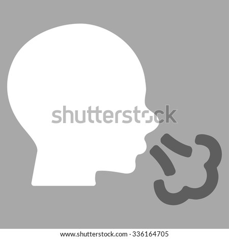 Sneezing vector icon. Style is bicolor flat symbol, dark gray and white colors, rounded angles, silver background.