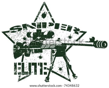Sniper elite stamp - stock vector