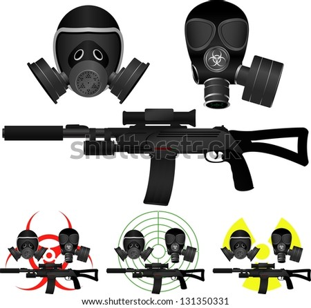 sniper rifle and gas masks. vector illustration - stock vector