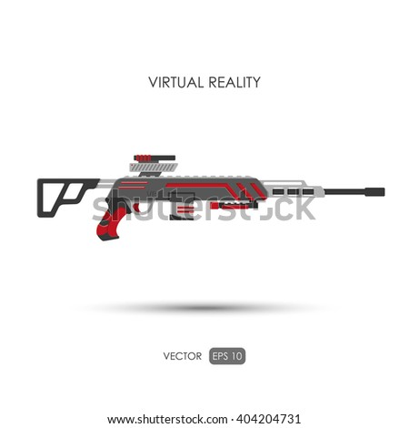 Sniper rifle. Gun for virtual reality system. Video game weapons. Video game guns. Vector illustration - stock vector