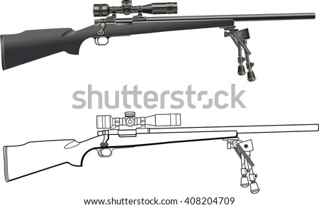 sniper rifle with scope and bipod - stock vector