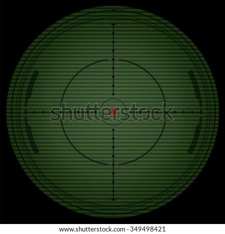 Sniper scope. Night vision. Vector - stock vector