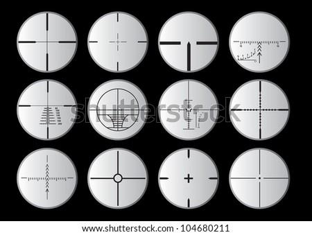 sniper scope set - stock vector
