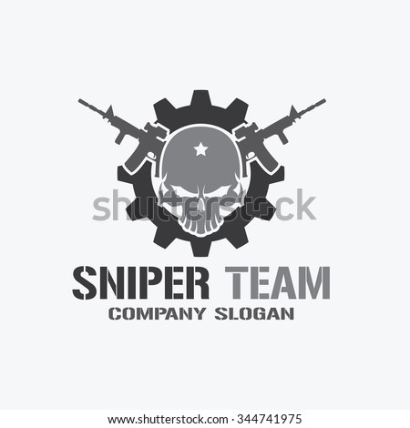 Sniper Team Logo,Skull Logo,rock,game,gamer,wing logo,Vector logo template - stock vector