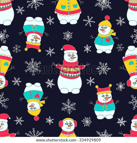 Snoman seamless pattern. Hand drawn doodle snowmen family. Bright colors - red, yellow, green and white. On black background. - stock vector