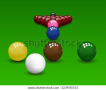 Snooker pyramid, shiny balls on green background. Vector illustration. - stock vector