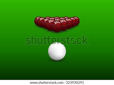 Snooker rack, shiny balls on green background. Vector illustration. - stock vector