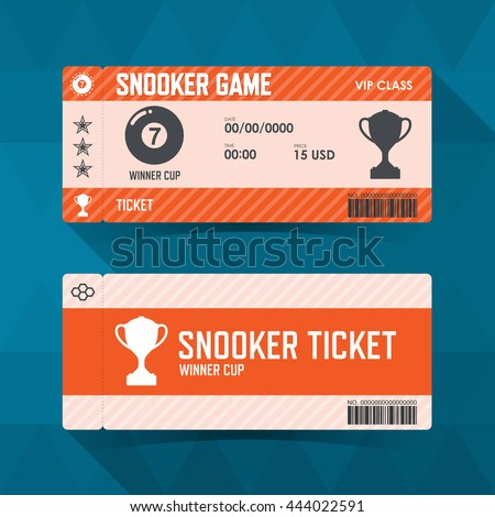 Snooker, ticket design guidelines. vector illustration - stock vector