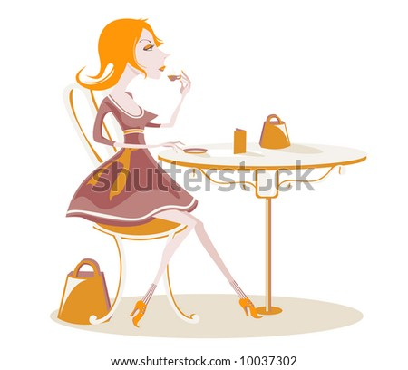 Snooty lady drinking coffee - stock vector