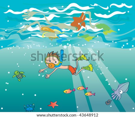 Snorkeling kid. Vector illustration of a kid underwater with mask, snorkel and fins in a surrounded by cute ocean creatures. - stock vector