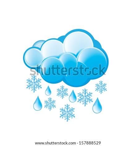 Snow And Rain Icon - stock vector