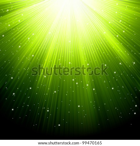 Snow and stars are falling on the background of green luminous rays. EPS 8 vector file included