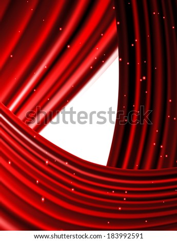 Snow and stars are falling on the background of red luminous rays. - stock vector