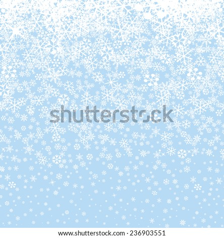 Snow background. Snowflakes  pattern. Winter snowy border wallpaper. - stock vector