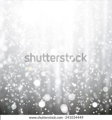 snow bokeh texture over landscape background - stock vector
