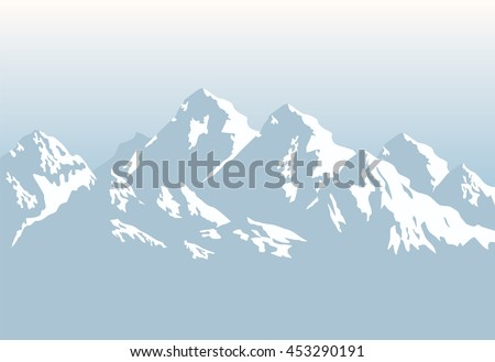 snow-capped mountains - vector background  - stock vector
