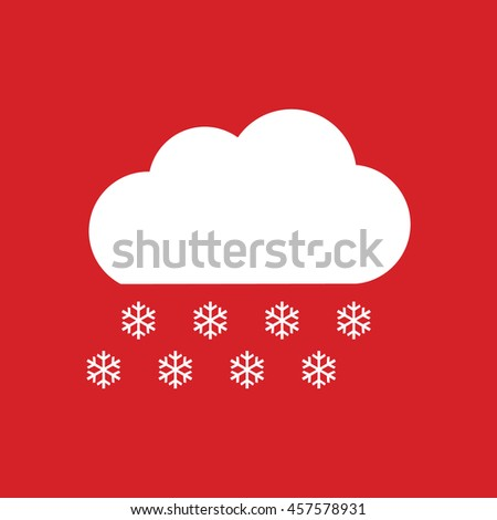 Snow cloud winter icon vector. Weather forecast. Red background - stock vector