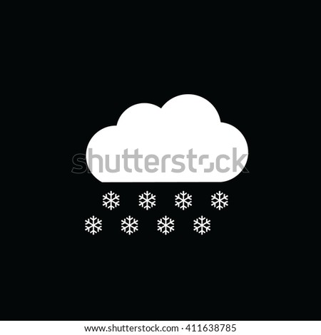 Snow cloud winter vector icon black background. Weather forecast - stock vector