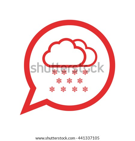 Snow cloud / winter / weather forecast . red icon / vector illustration / flat design - stock vector