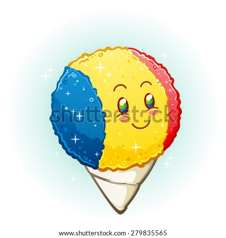 Snow Cone Cartoon Character Smiling with Rosy Cheeks - stock vector