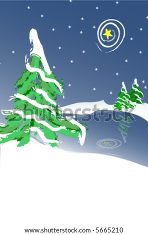 Snow Covered Christmas Tree - stock vector