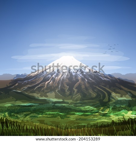Snow covered cloudy mountain peak scenery   - stock vector