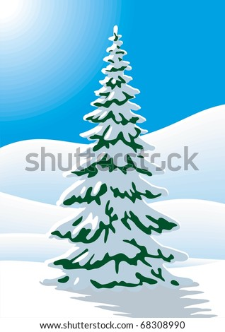 Snow covered fir tree - stock vector