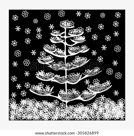 Snow-covered fir tree in black and white colors - stock vector