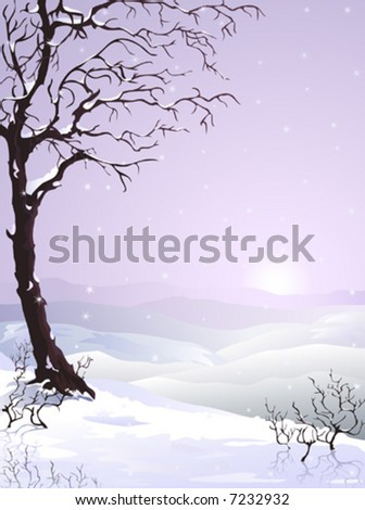 Snow-covered plum tree (autumn variant of this image and other landscapes are in my gallery) - stock vector