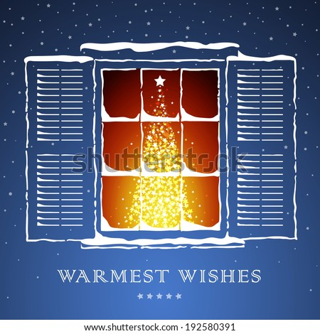 Snow covered window with shutters. A lightened up Christmas tree inside a house. Warmest wishes concept. Vector EPS 10 illustration.  - stock vector
