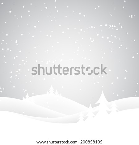 Snow covered wintery scene.Snow falling over a fir tree forest