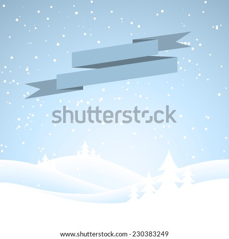 Snow covered wintery scene.Snow falling over a fir tree forest - stock vector