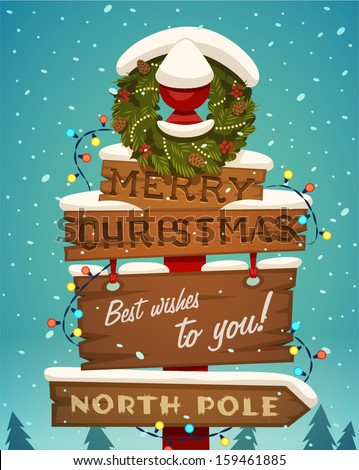 Snow covered wooden sign. Merry christmas greeting card.  - stock vector