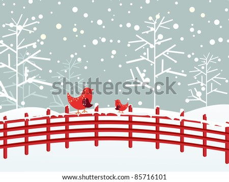 snow fall, dry tree background with cute birds sitting on fence - stock vector