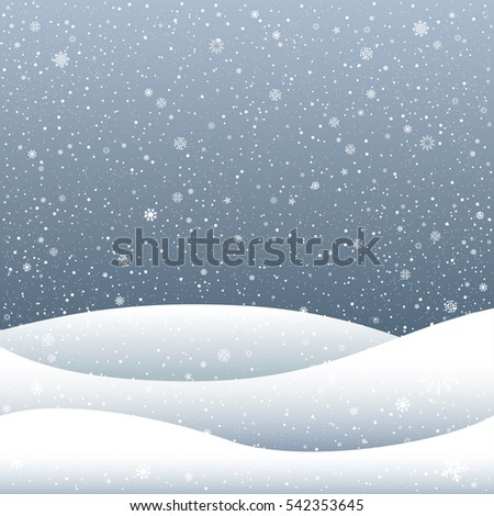 Snow falls and snowdrift hill on cartoon sky dark background. Winter time. Christmas and New Year eve