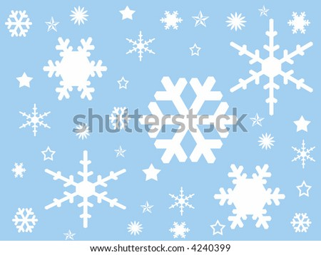 Snow flakes background - stock vector