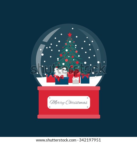 Snow globe and Christmas fir tree decorated with balls and garland. Gifts box under spruce. - stock vector
