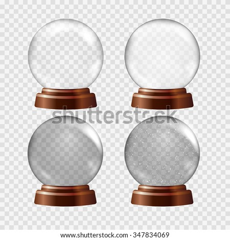 Snow globe set. Big white transparent glass sphere on a stand with glares and highlights. Vector illustration contains gradients and effects. Winter christmas background for your design and business.