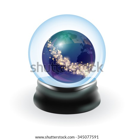 Snow globe template. Earth and stars. Vector illustration - stock vector