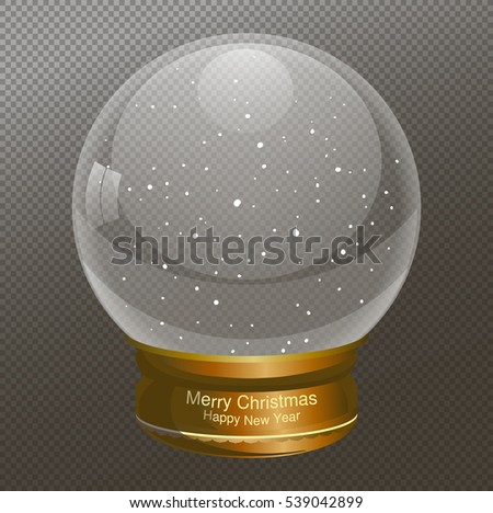 Snow Globe vector illustration, text  Merry Christmas, New year. Empty snowglobe. Crystal 3d Sphere. Transparent glass ball. New Year gift.
