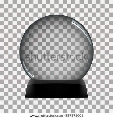 Snow globe vector winter transparent background  - stock vector