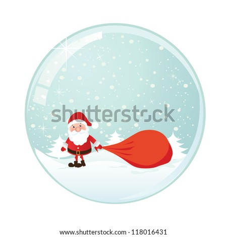 Snow globe with christmas character. Vector