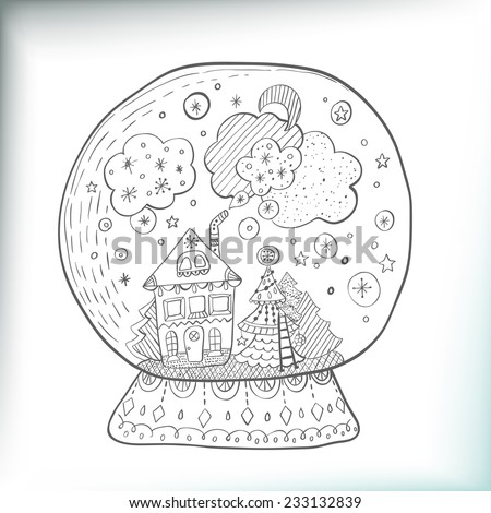 Snow globe with decorated xmas town, Christmas doodle illustration - stock vector